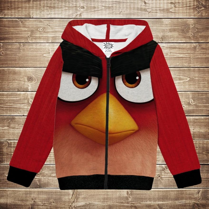 Худі теплий з 3D принтом Red Angry Birds. Дитячі і дорослі розміри