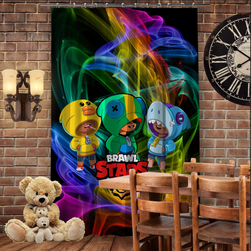 Штори 3D з принтом- Бравл Старс Три Леона Brawl Stars