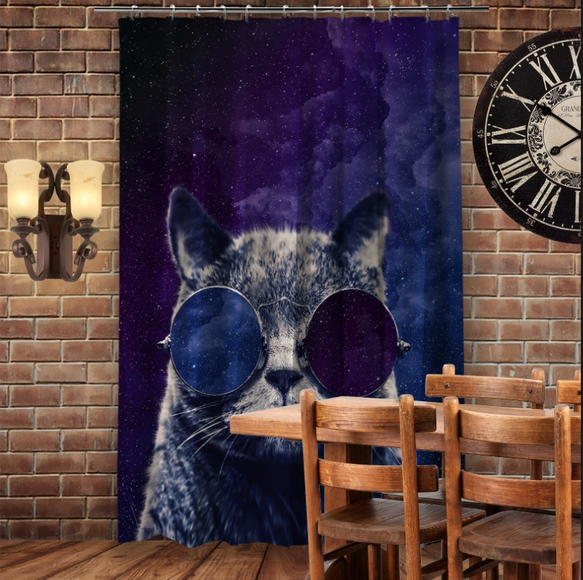Штори 3D з принтом- Космічний кіт