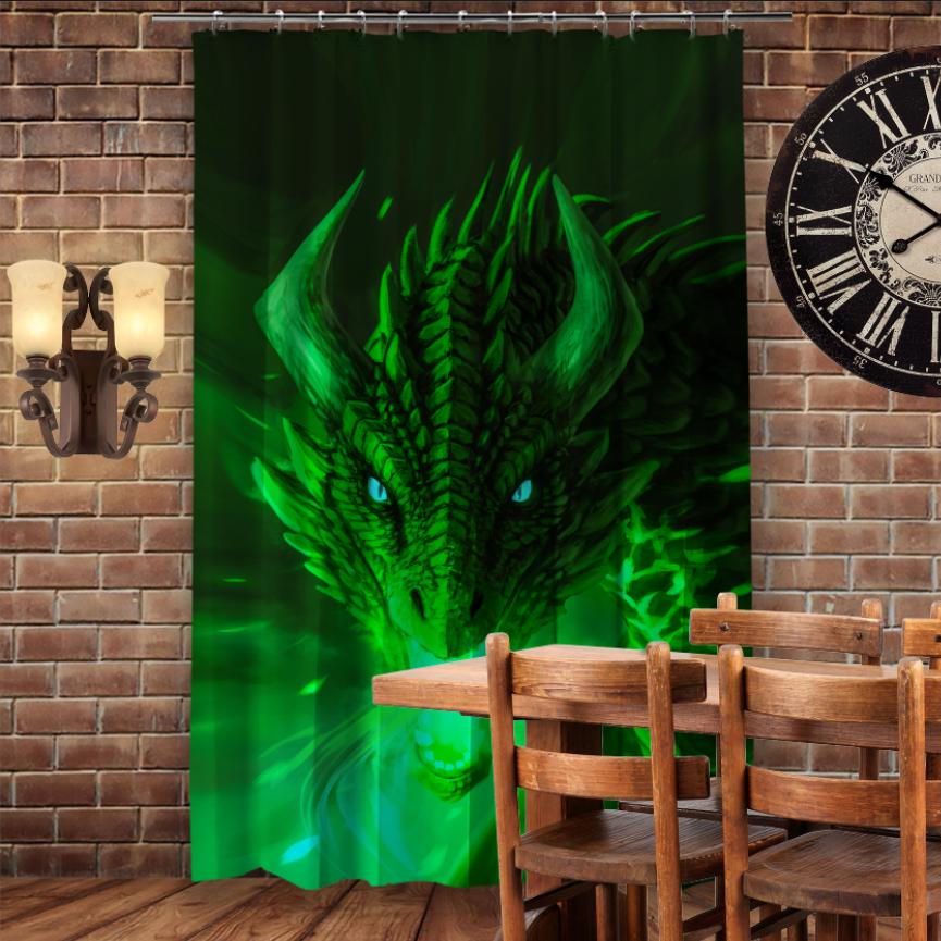 Штори 3D з принтом- Зелений Дракон