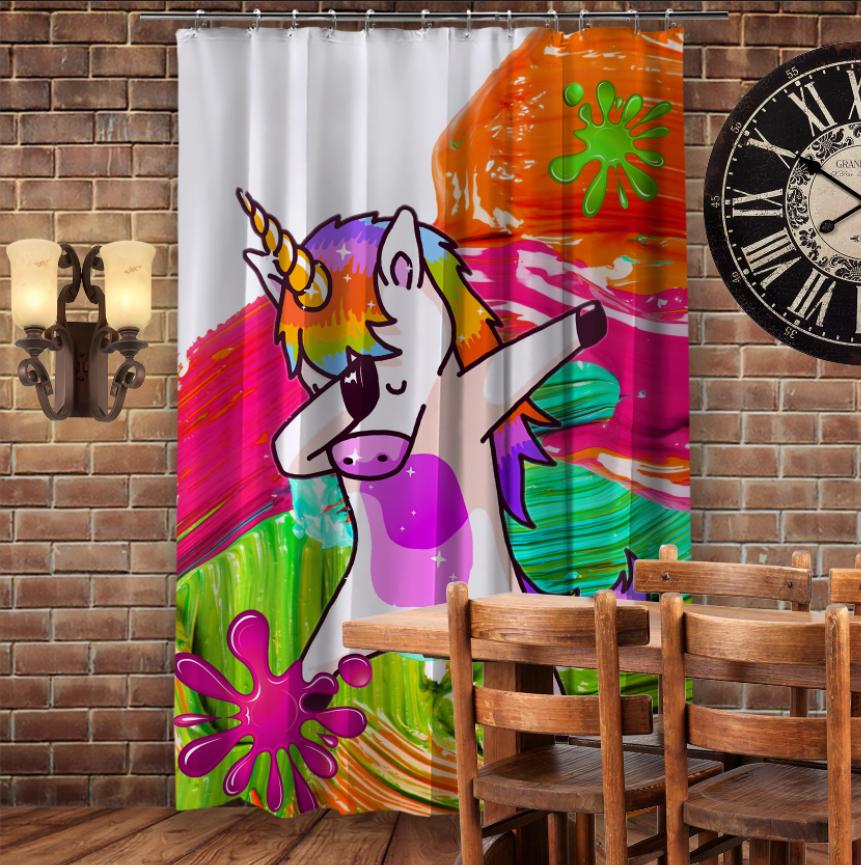 Штори 3D з принтом- Unicorn Dab