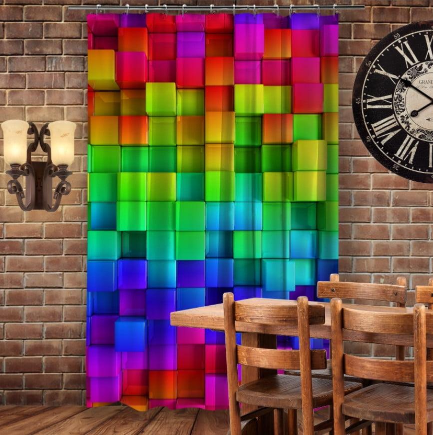 Штори 3D з принтом- Кольорові кубики