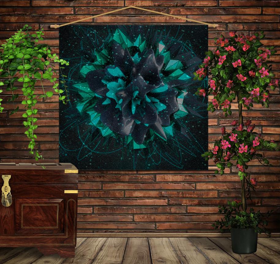 Мобільна картина-постер на тканині з 3D з принтом Flower plazma