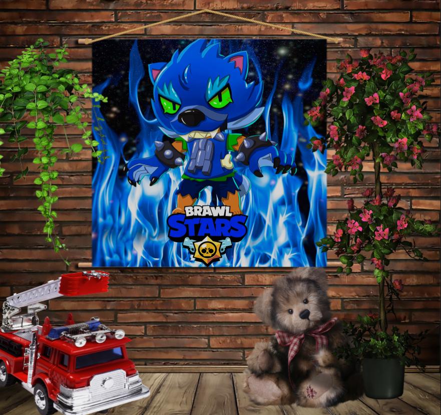 Мобільна картина-постер на тканині з 3D з принтом Brawl Stars Leon Werewolf in blue fire