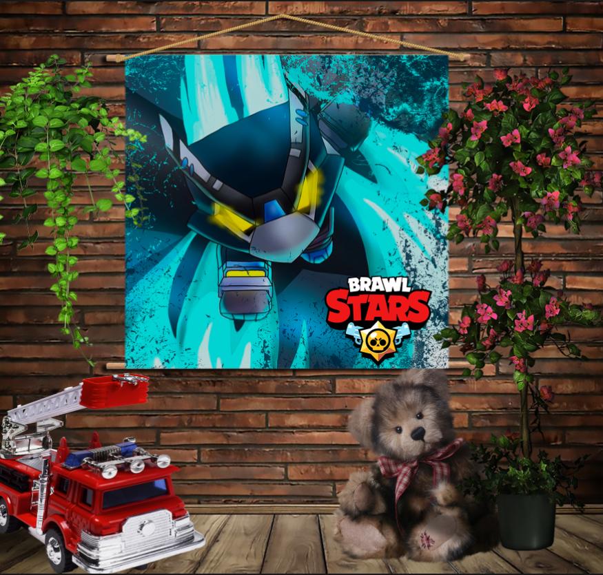 Мобільна картина-постер на тканині з 3D з принтом Бравл Старс Ворон Меха Brawl Stars