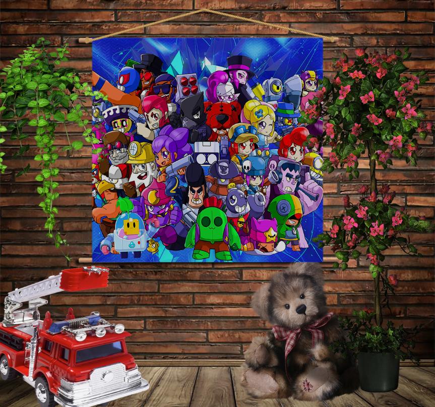 Мобільна картина-постер на тканині з 3D з принтом Бравл Старс 2020 Brawl Stars
