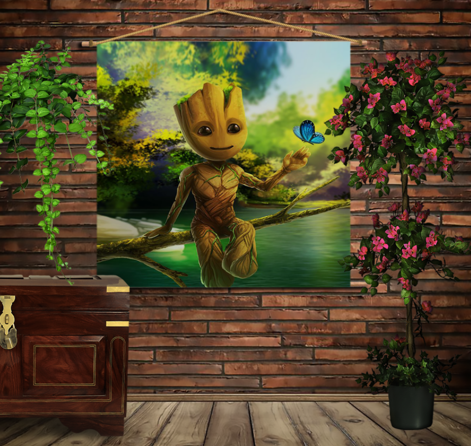 Мобільна картина-постер на тканині з 3D з принтом Маленький Грут на дереві