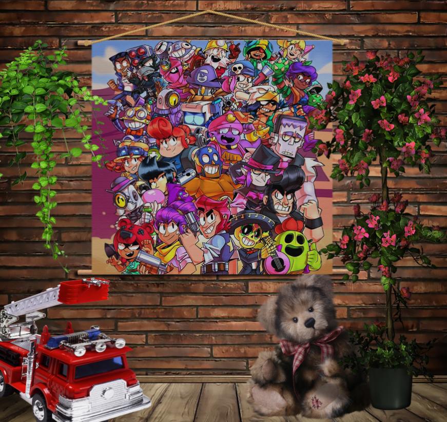 Мобільна картина-постер на тканині з 3D з принтом Бравл старс Party Brawl Stars