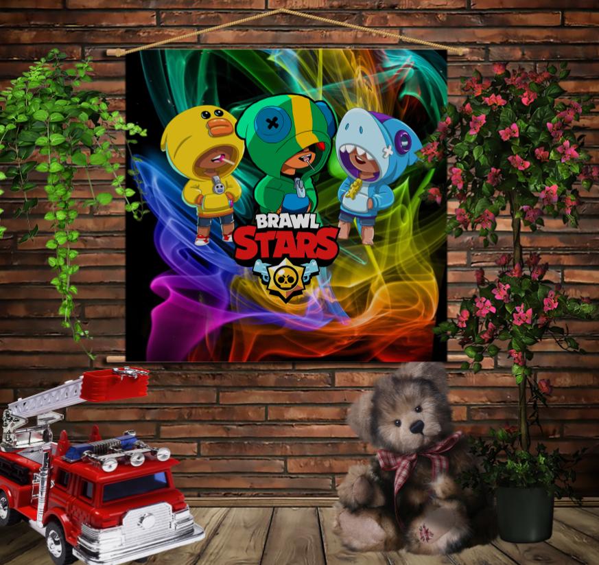 Мобільна картина-постер на тканині з 3D з принтом Бравл Старс Три Леона Brawl Stars