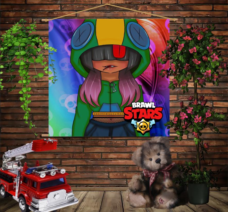 Мобільна картина-постер на тканині з 3D з принтом Бравл Старс Дівчина Леона Brawl Stars