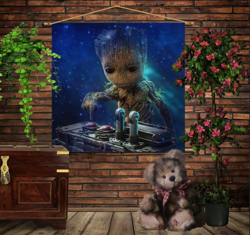 Мобільна картина-постер на тканині з 3D з принтом Маленький Грут і музика