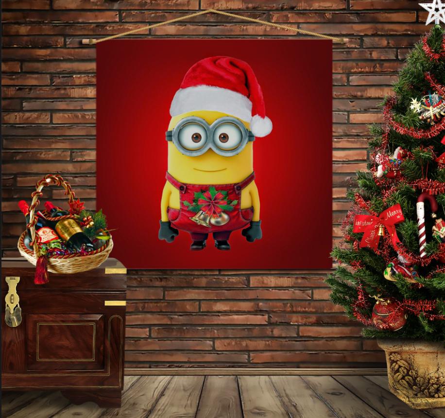 Мобільна картина-постер на тканині з 3D з принтом Посіпака Різдво
