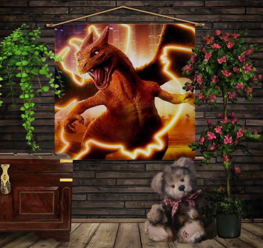 Мобільна картина-постер на тканині з 3D з принтом Покемон Чаризард