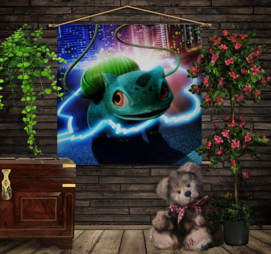Мобільна картина-постер на тканині з 3D з принтом Покемон Бульбозавр