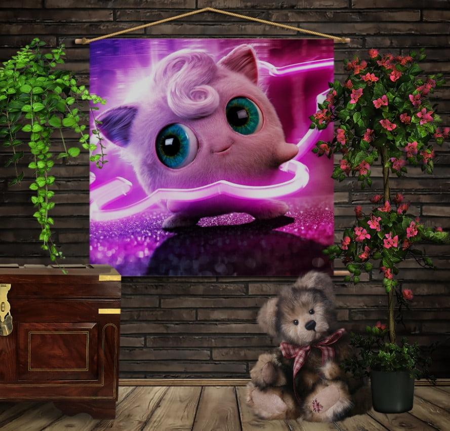 Мобільна картина-постер на тканині з 3D з принтом Покемон Джиглипуфф