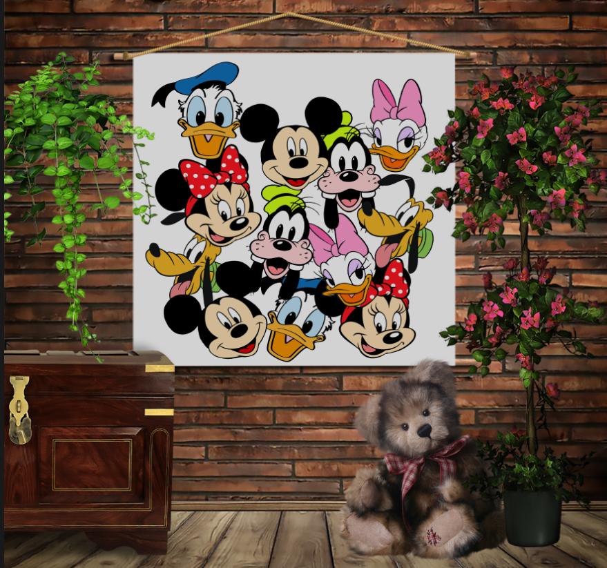 Мобільна картина-постер на тканині з 3D з принтом Дісней Герої