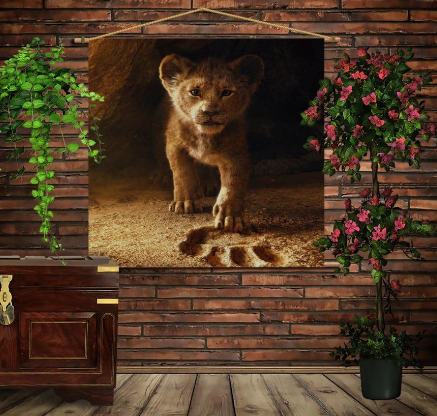 Мобільна картина-постер на тканині з 3D з принтом Сімба Король Лев