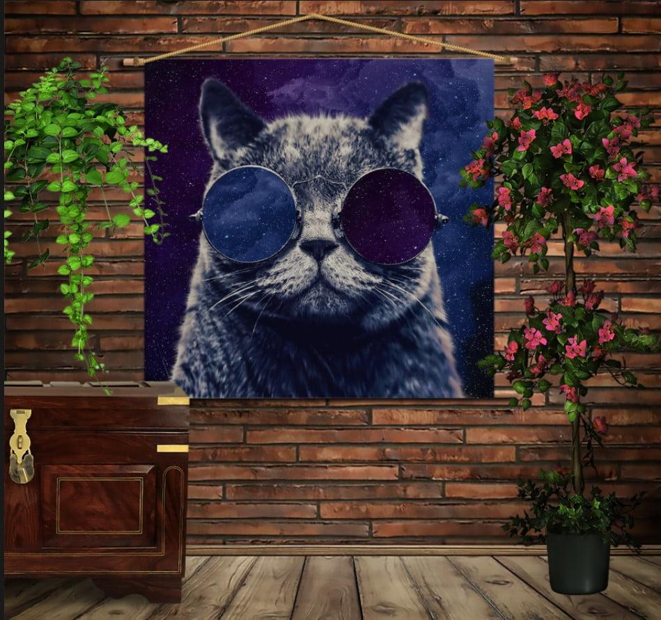 Мобільна картина-постер на тканині з 3D з принтом Космічний кіт