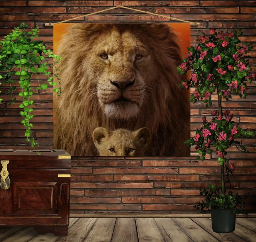 Мобільна картина-постер на тканині з 3D з принтом Сімба і Муфаса. Королі Прайду