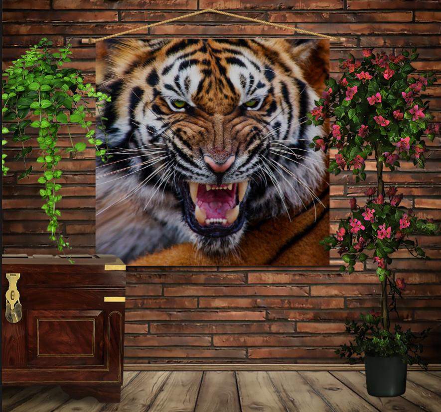 Мобільна картина-постер на тканині з 3D з принтом Оскал Тигра