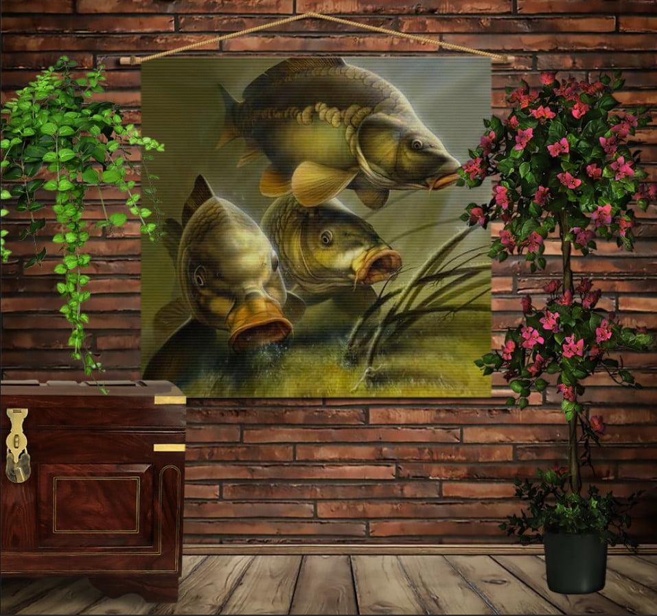 Мобільна картина-постер на тканині з 3D з принтом Карпи