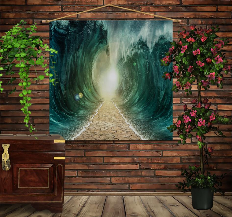 Мобільна картина-постер на тканині з 3D з принтом Дорога між хвиль по дну океана