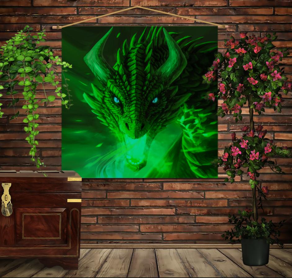 Мобільна картина-постер на тканині з 3D з принтом Зелений Дракон