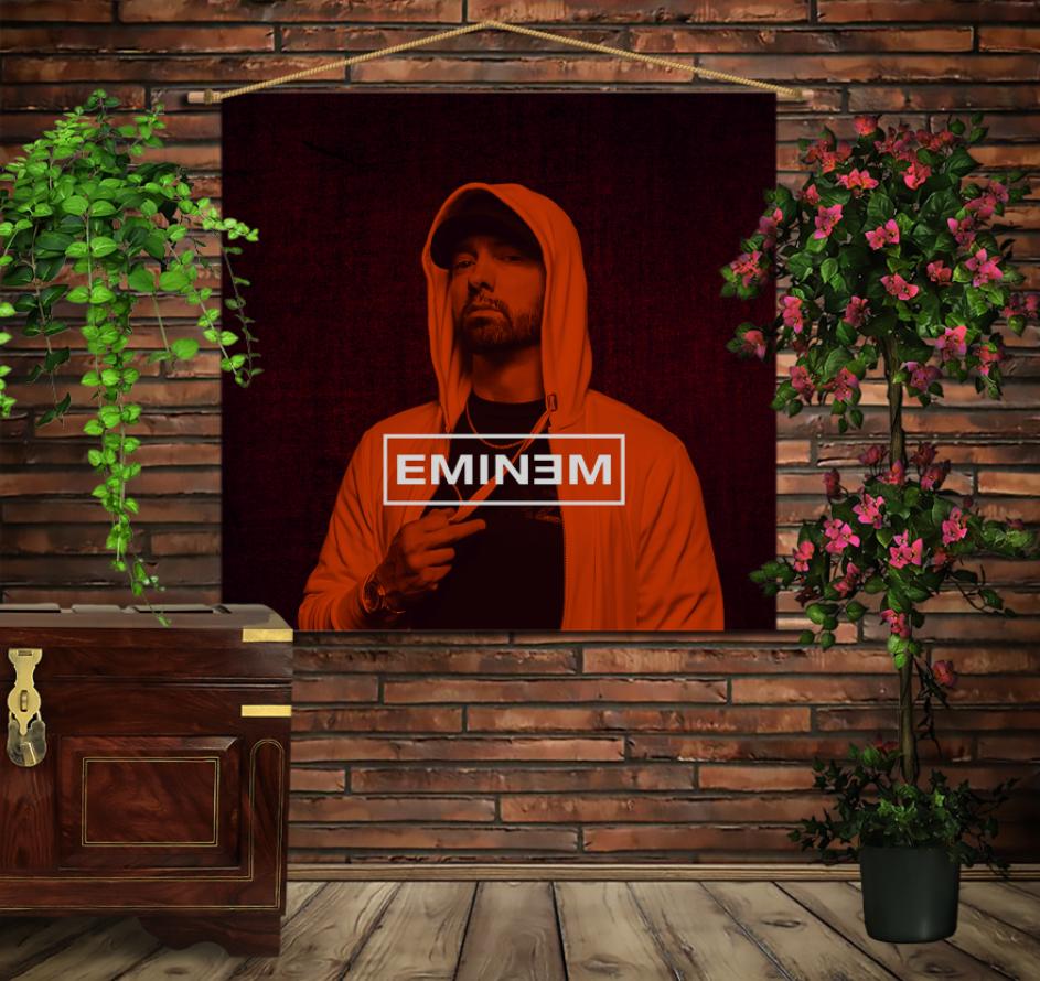 Мобільна картина-постер на тканині з 3D з принтом Eminem Face