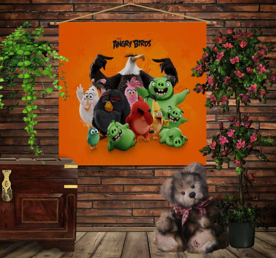 Мобільна картина-постер на тканині з 3D з принтом Angry birds Команда