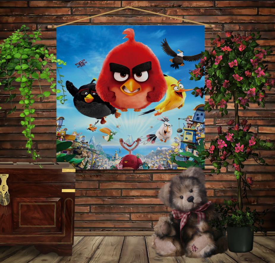Мобільна картина-постер на тканині з 3D з принтом Angry Birds attack