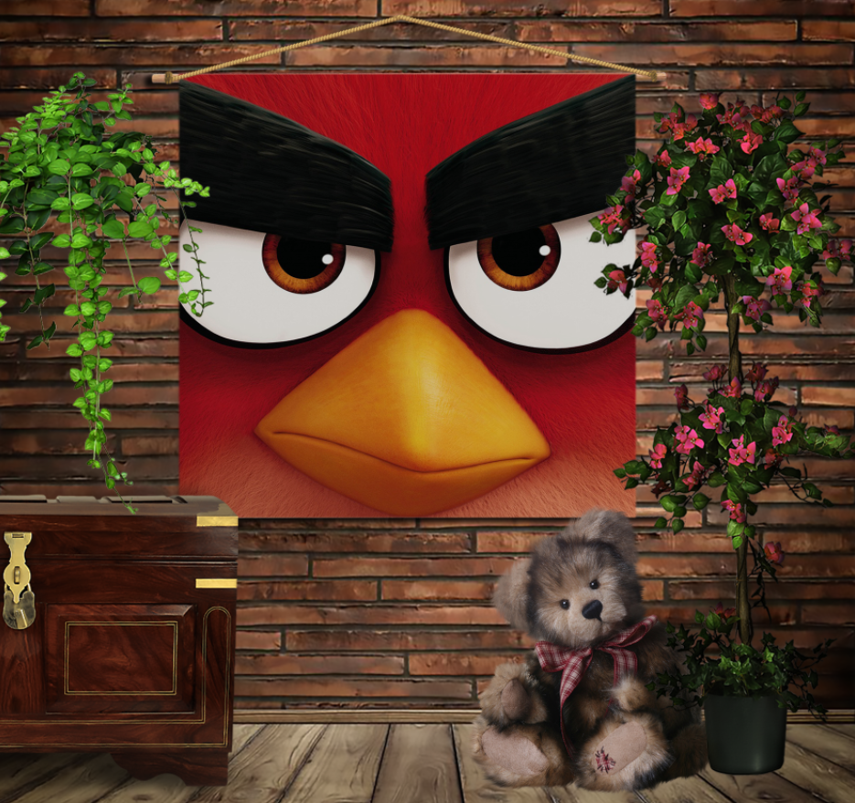 Мобільна картина-постер на тканині з 3D з принтом Angry Birds Red