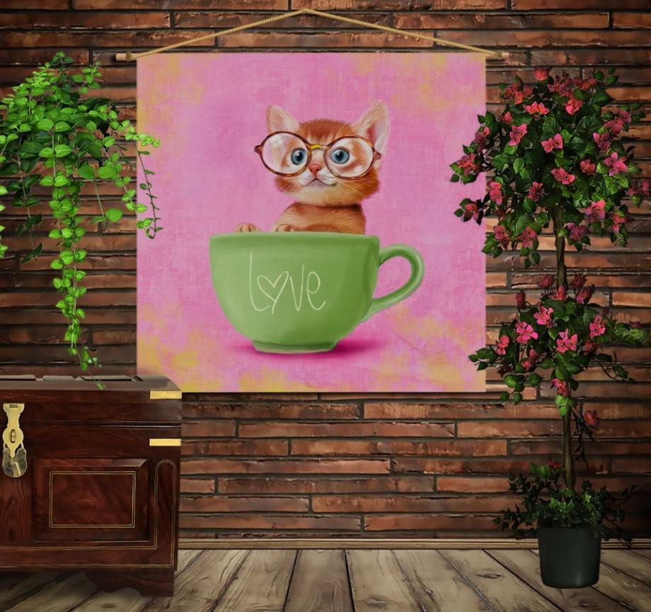 Мобільна картина-постер на тканині з 3D з принтом Котик в чашці