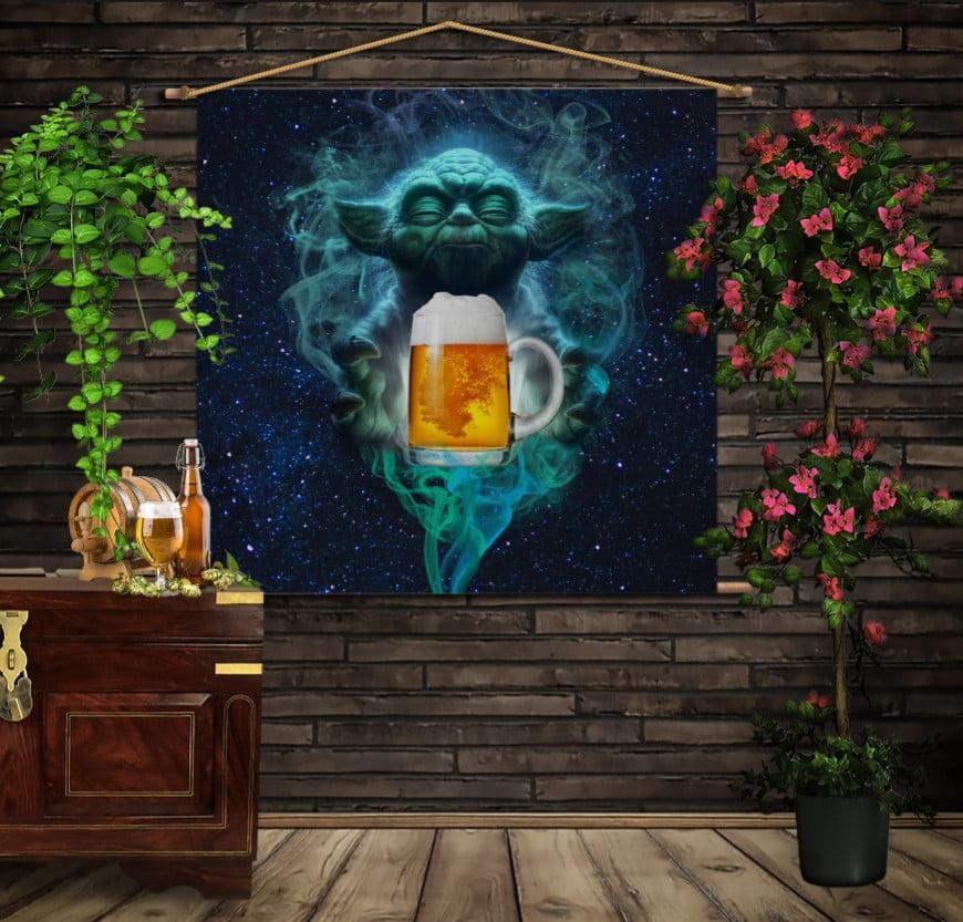 Мобільна картина-постер на тканині з 3D з принтом Йода Джин і пиво. Обери свою сторону