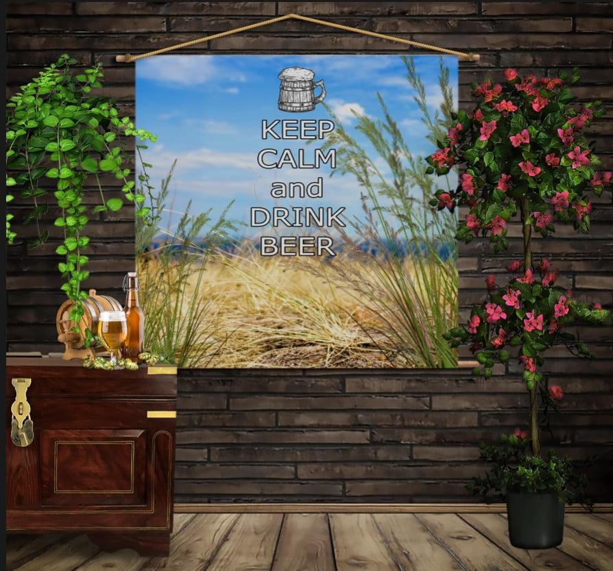 Мобільна картина-постер на тканині з 3D з принтом Keep Calm and Drink Beer