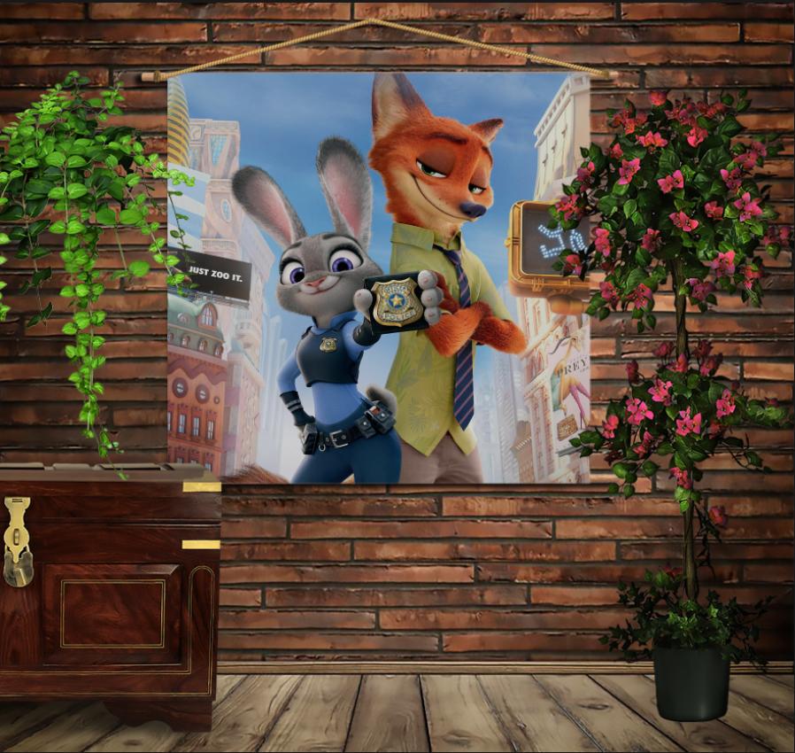 Мобільна картина-постер на тканині з 3D з принтом Зоотрополіс. Нік і Джуді