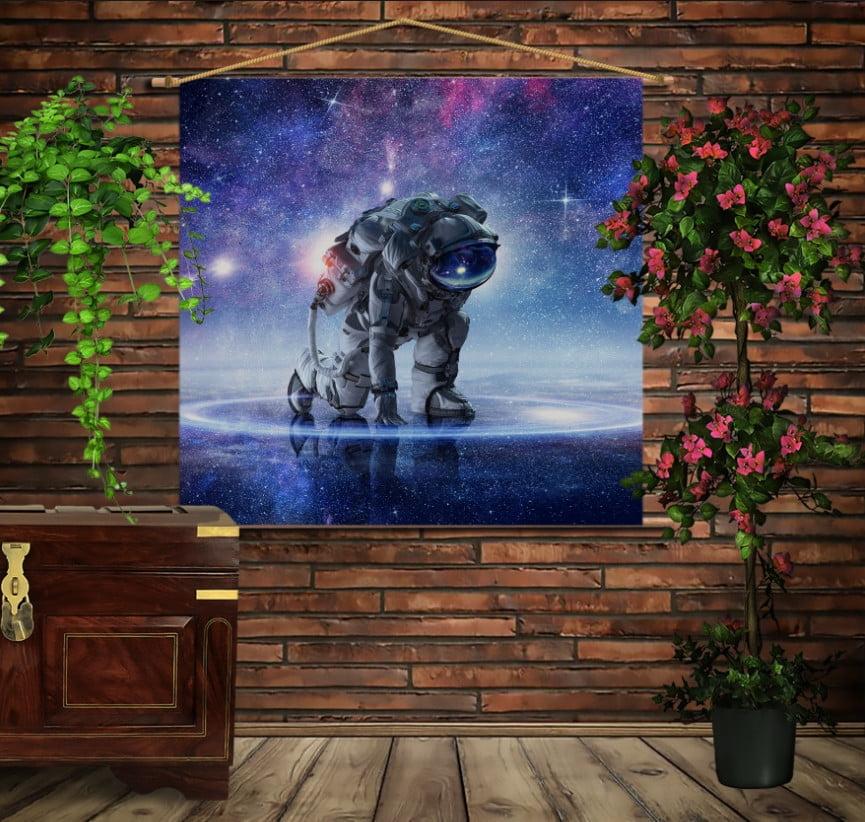 Мобільна картина-постер на тканині з 3D з принтом Космонавт