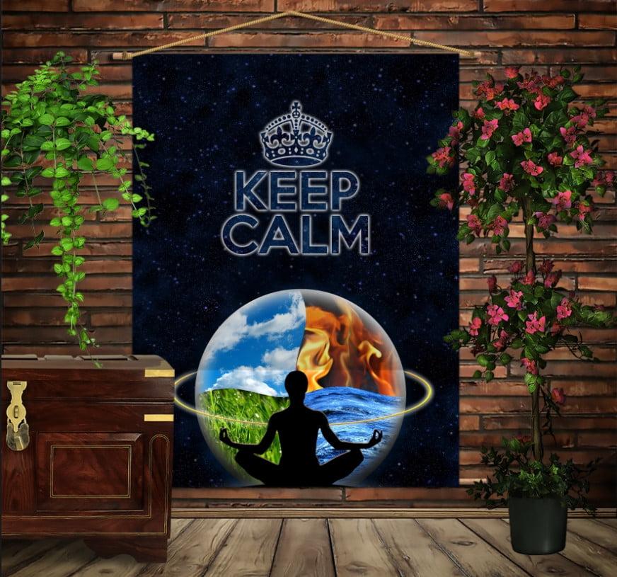 Мобільна картина-постер на тканині з 3D з принтом Кіп Келм/Keep Calm