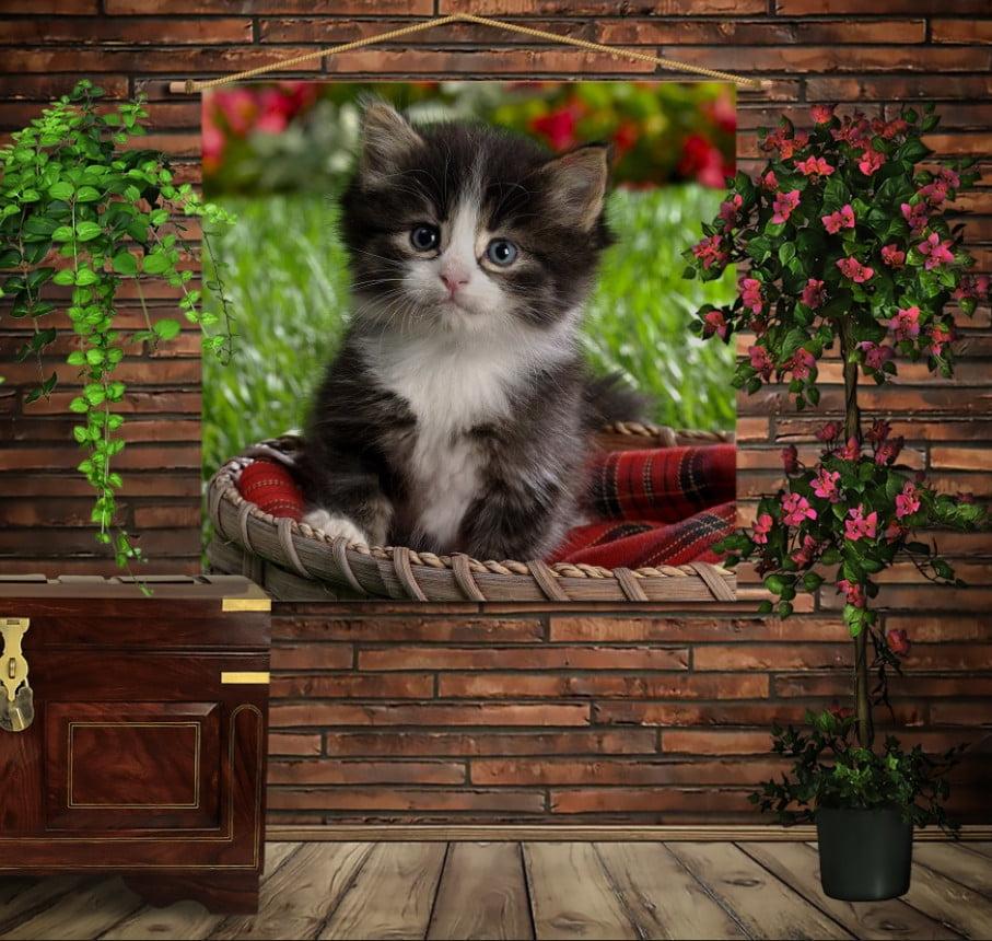 Мобільна картина-постер на тканині з 3D з принтом Кошеня в кошику