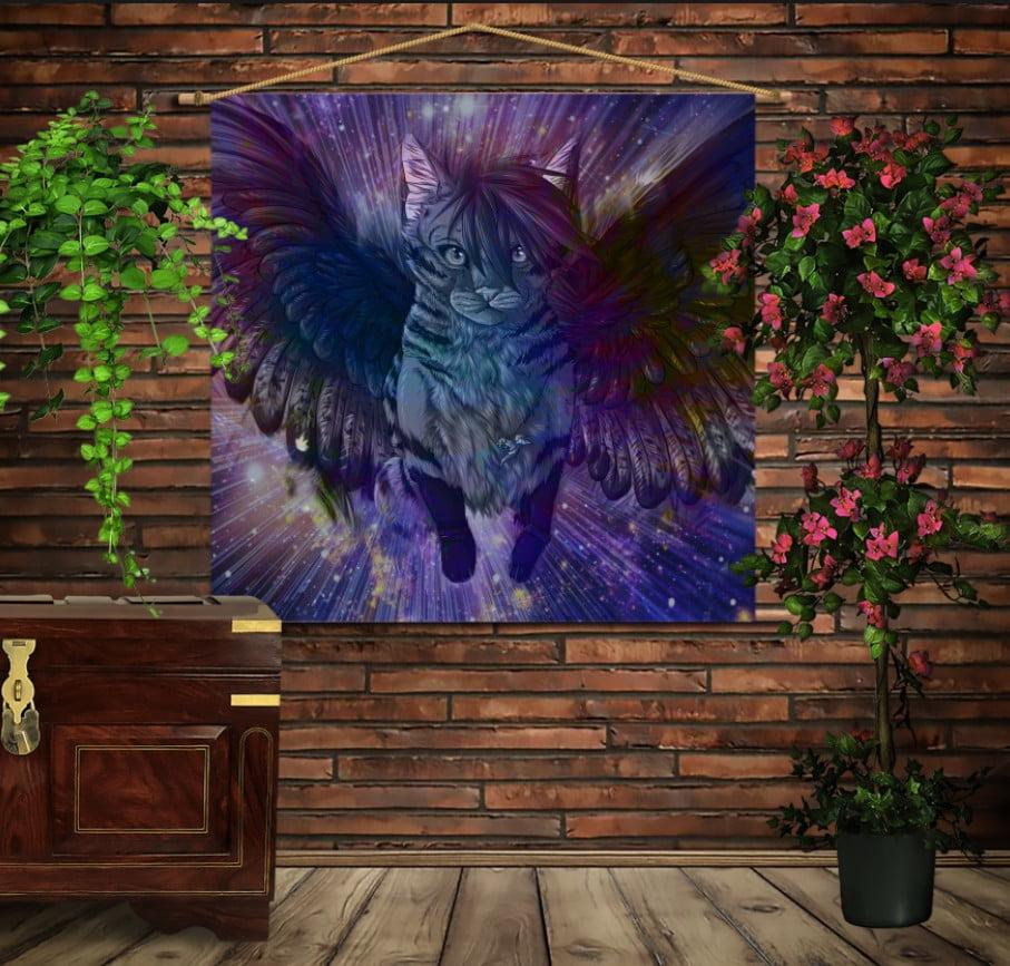 Мобільна картина-постер на тканині з 3D з принтом Кіт з крилами