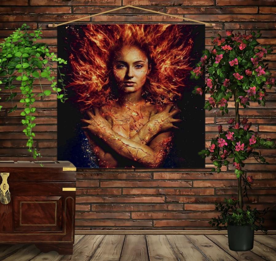 Мобільна картина-постер на тканині з 3D з принтом Фенікс Люди Ікс / X-Men