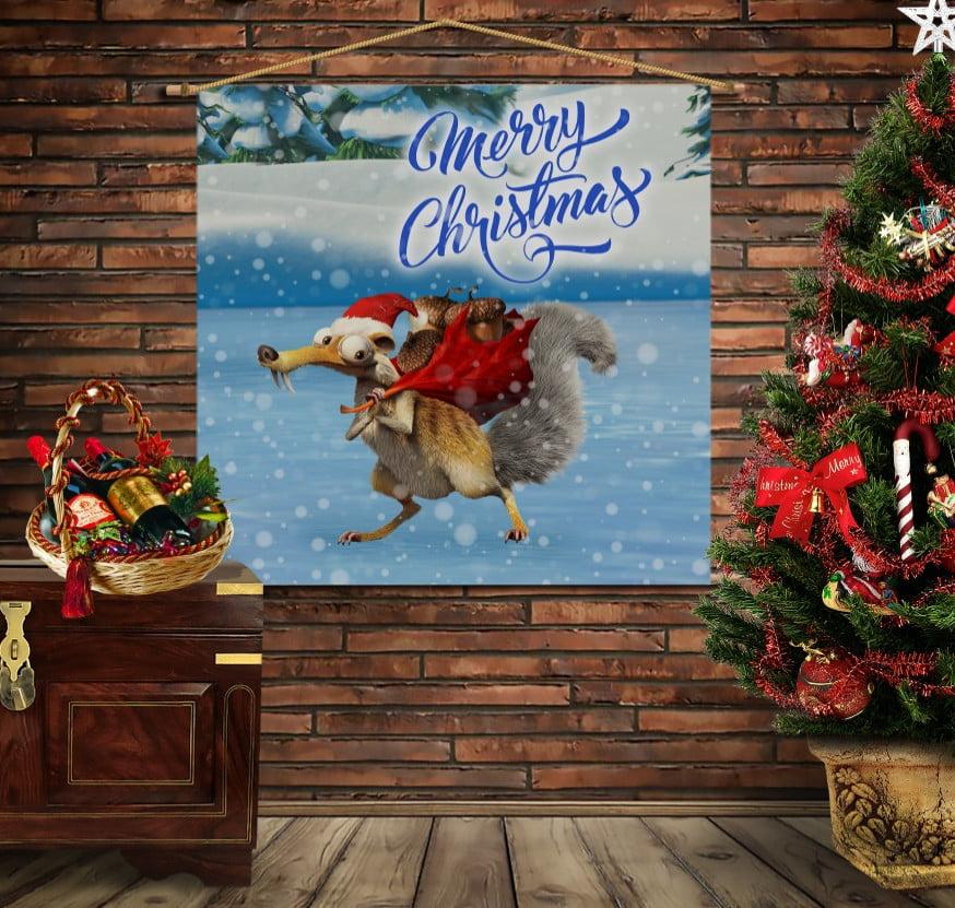 Мобільна картина-постер на тканині з 3D з принтом Різдвяний Скрет