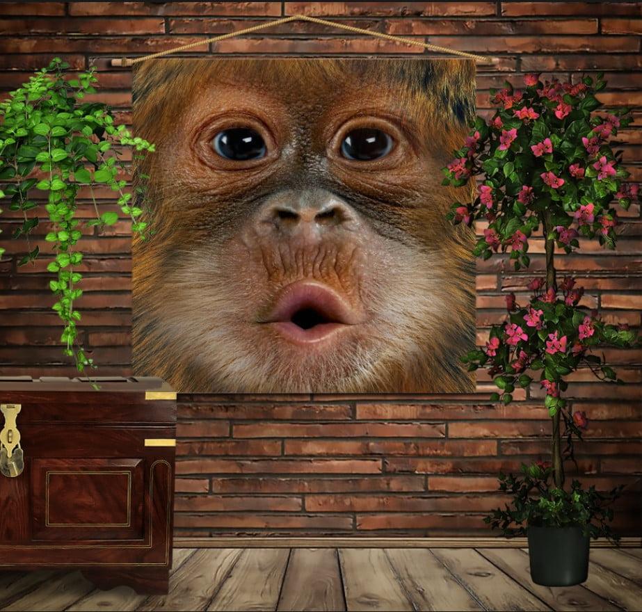 Мобільна картина-постер на тканині з 3D з принтом Мавпа Kiss