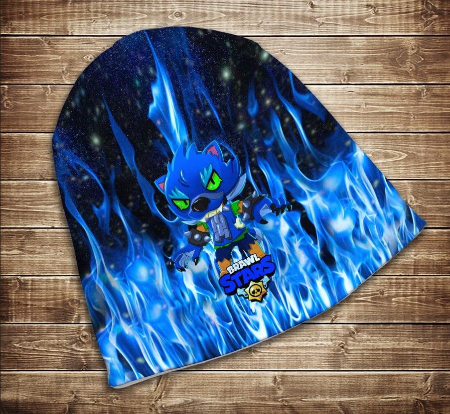 Шапка з 3D принтом Leon Синій вогонь Brawl Stars Всі розміри