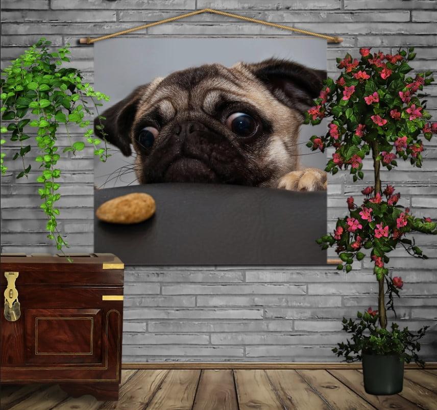 Мобільна картина-постер на тканині з 3D з принтом Мопс і печенюшка