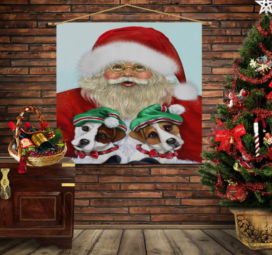 Мобільна картина-постер на тканині з 3D з принтом Санта і ельфи