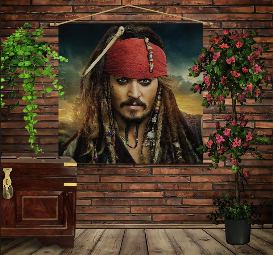 Мобільна картина-постер на тканині з 3D з принтом Капітан Джек Горобець/Jack Sparrow