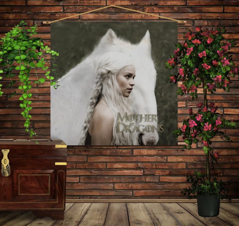 Мобільна картина-постер на тканині з 3D з принтом Дейнеріс/Game of Thrones
