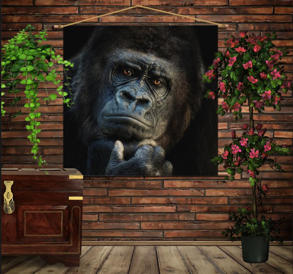Мобільна картина-постер на тканині з 3D з принтом Мудра Горила