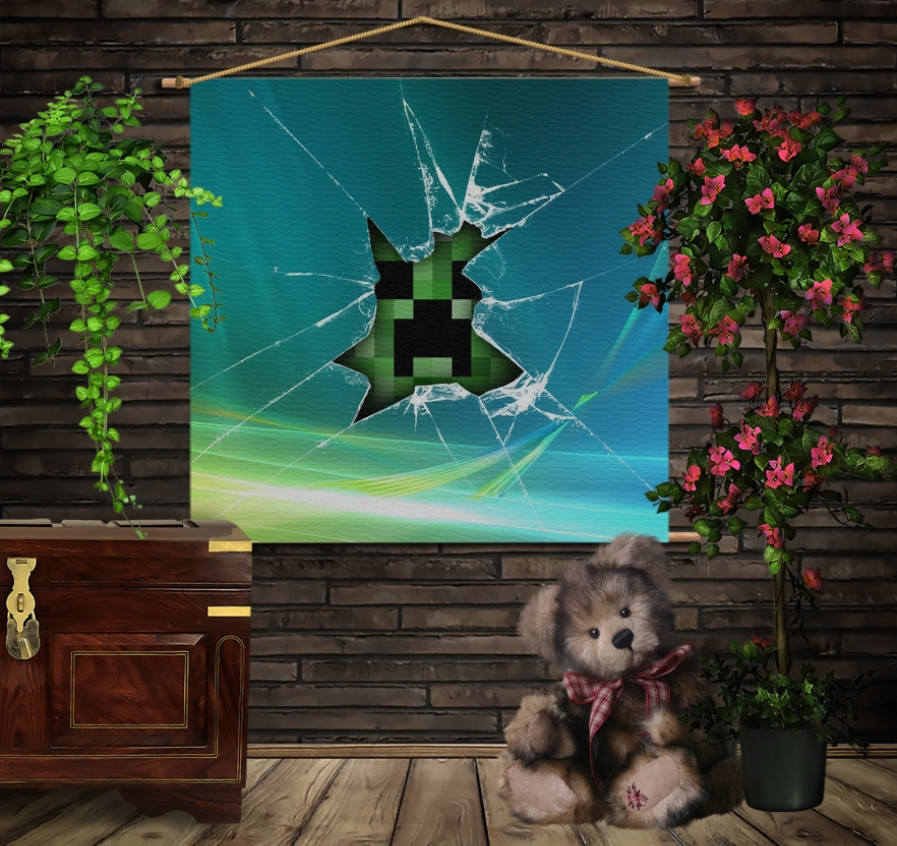 Мобільна картина-постер на тканині з 3D з принтом Minecraft Earth