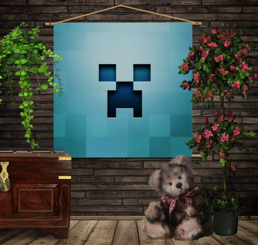Мобільна картина-постер на тканині з 3D з принтом  Minecraft /Майнкрафт BLUE
